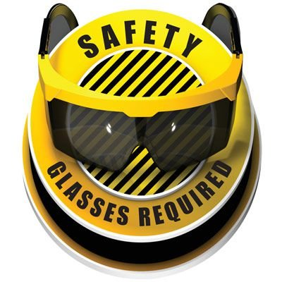 3D Floor Marker - Safety Glasses Required