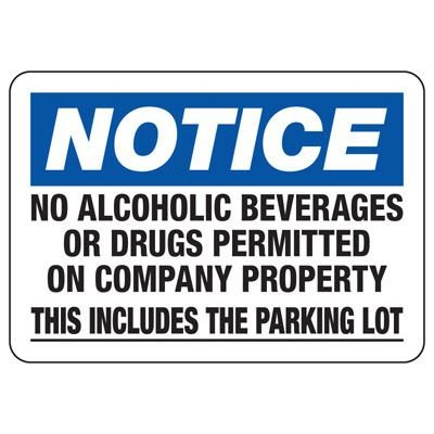 No Alcohol or Drugs Permitted - Restriction Signs
