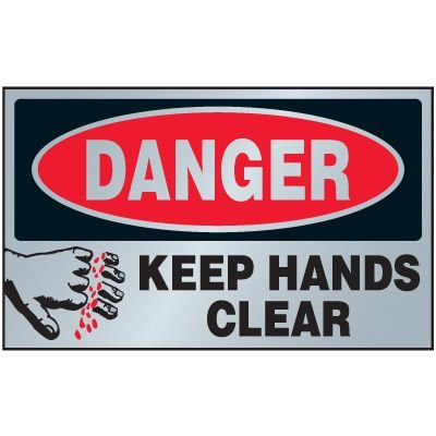 Danger Keep Hands Clear Aluminum Warning Plates