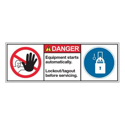 ANSI Z535 Safety Labels - Equipment Starts Automatically Lockout/Tagout