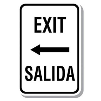 Bilingual Parking Signs - Exit (Left Arrow)