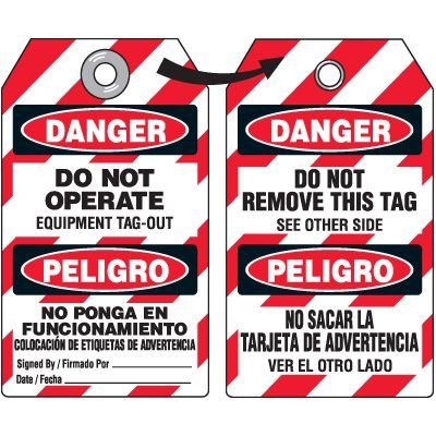 Danger Do Not Remove Tag - Bilingual