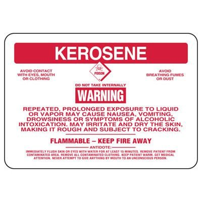 Kerosene Warning Repeated Exposure May Cause Nausea - Chemical Sign