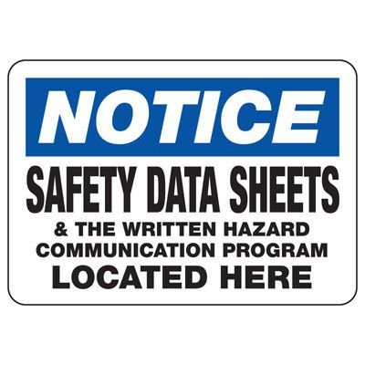 Notice Safety Data Sheets - Industrial Chemical Warning Sign