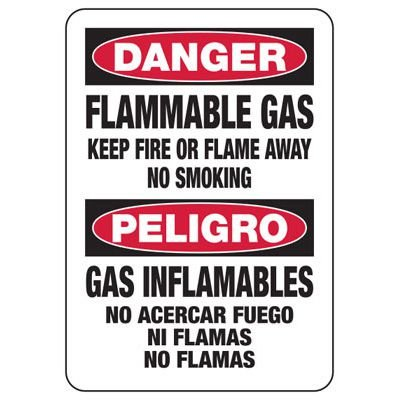 Bilingual Danger Flammable Gas - Industrial Chemical Warning Sign