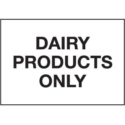 Dairy Products Only Cold Adhesion Label