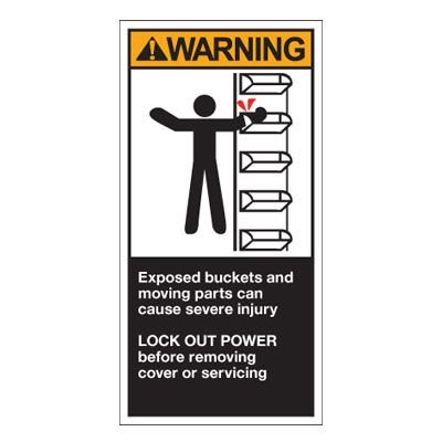 Conveyor Safety Labels - Warning Exposed Buckets