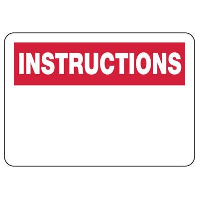 Write-On Instructions Safety Sign
