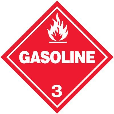 Gasoline 3 D.O.T. Placards