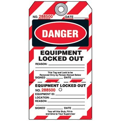 Danger Equipment Locked Out - 2-Part Lockout Tag
