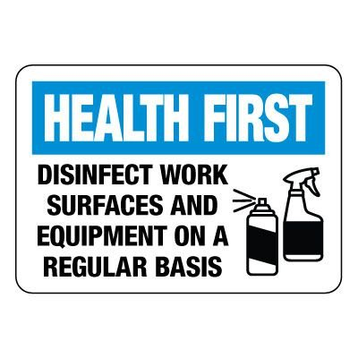 Health First Disinfect Work Surfaces Sign