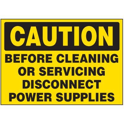 Caution Disconnect Power Supplies - Electrical Decals