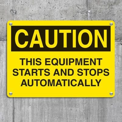 Equipment Hazard Mini Safety Signs - Caution Equipment Starts and Stops Automatically