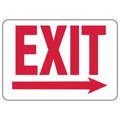 Exit & Fire Equipment Signs - Exit with Right Arrow