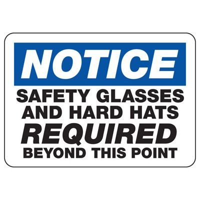 Safety Glasses And Hard Hats Required Beyond This Point - PPE Sign