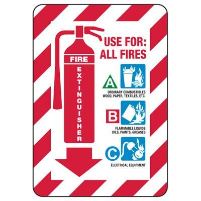 Fire Extinguisher Use For All Fires - Fire Safety Signs