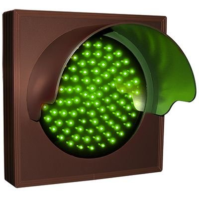 Flashing Green Hooded Direct View Sign