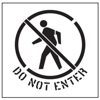 Large Floor Stencils - Do Not Enter Symbol & Text