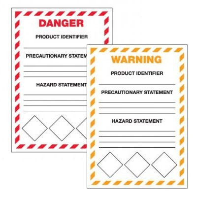GHS Danger/Warning Secondary Container Write-on Labels