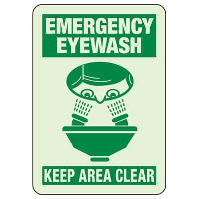 Emergency Eye Wash Keep Area Clear - Glow-In-The-Dark Safety Signs