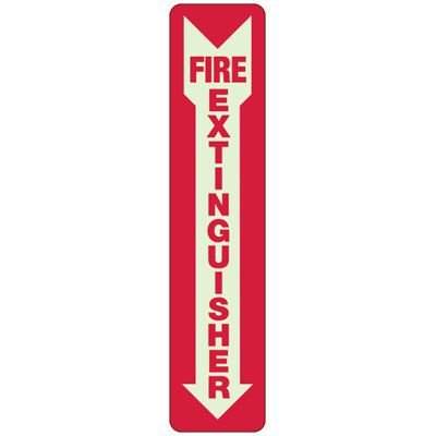 Glow-In-The-Dark Fire Extinguisher - Adhesive Fire/Exit Signs
