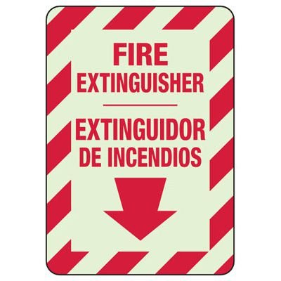 Bilingual Fire Extinguisher - Glow-In-The-Dark Fire Extinguisher Signs