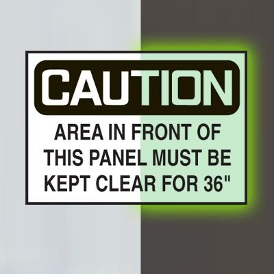 """Glow-In-The-Dark Electrical Safety Signs- Area In Front of This Panel Must Be Kept Clear For 36"""""""