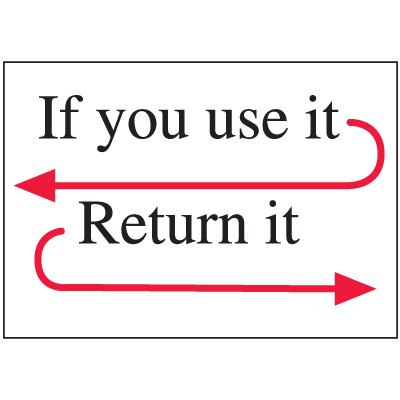 Housekeeping Signs - If You Use It Return It