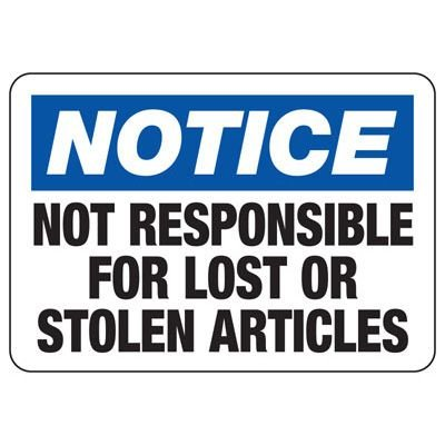 Not Responsible For Lost - Locker & Key Control Signs