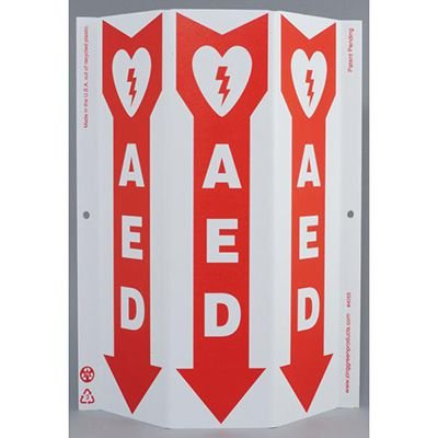 AED with Arrow Tri View Sign