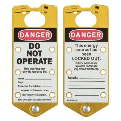 Brady Labeled Lockout Hasps (Gold) - Part Number - 65964 - 5/Pack