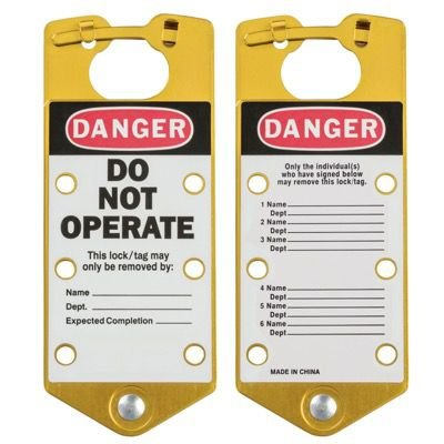 Brady Labeled Lockout Hasps (Gold) - Part Number - 65974 - 5/Pack