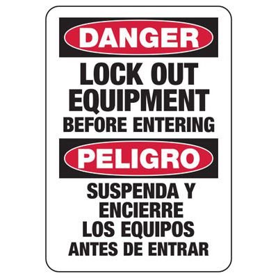 Bilingual Danger Lock Out Equipment - Lockout Sign