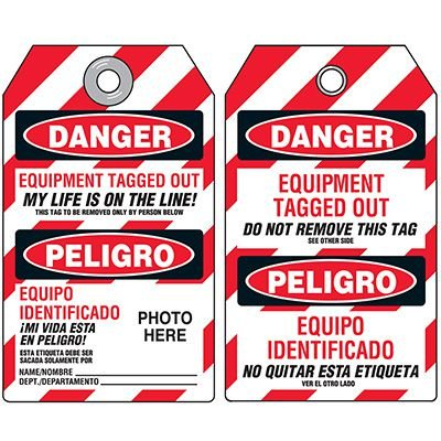 Self-Laminating Bilingual Lockout Tags - Danger Equipment Tagged Out