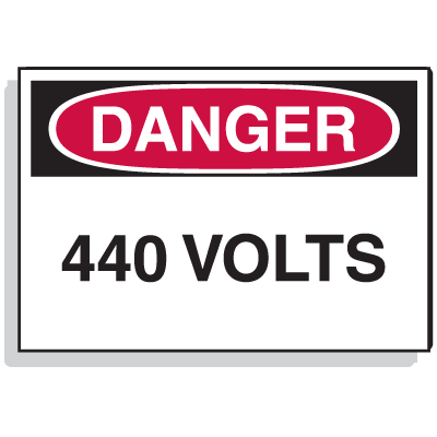 Lockout Hazard Warning Labels- Danger 440 Volts