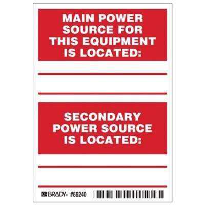 Brady Main / Secondary Power Source Labels - Part Number - 86240 - 5/Pack