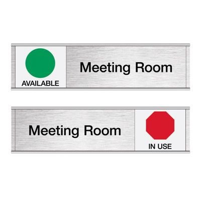 Meeting Room-Available/In Use - Engraved Facility Sliders
