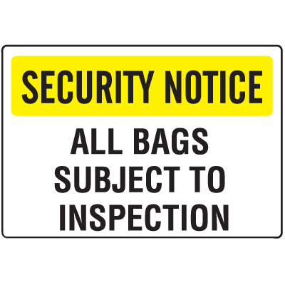 Metal Detector Inspection Signs- All Bags