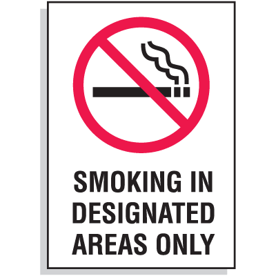 Smoking In Designated Areas Only Signs