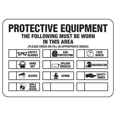 Protective Equipment The Following Must Be Worn - PPE Sign