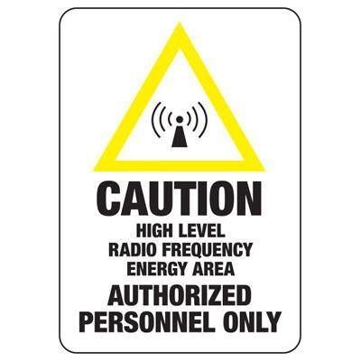 Caution No Trespassing Radio Frequency - Radio Frequency Signs