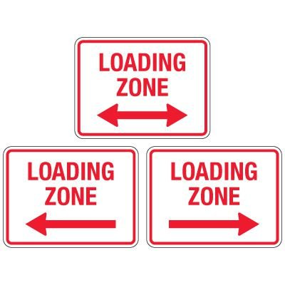 Reflective Parking Lot Signs - Loading Zone (With Arrow)