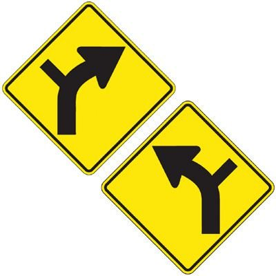 Reflective Warning Signs - Intersection Turn In The Road (Symbol)