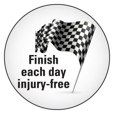 Safety Hard Hat Labels - Finish Each Day Injury-Free