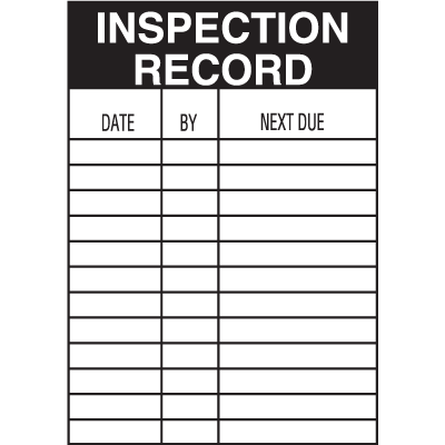 Inspection Record Service Labels