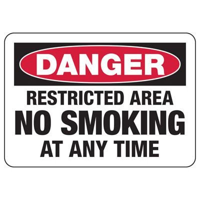 Danger Signs - Restricted Area No Smoking Anytime