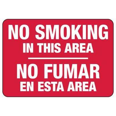 Bilingual No Smoking In This Area - Industrial Smoking Sign