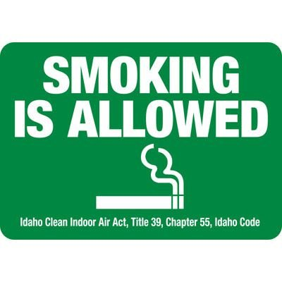 Idaho Smoking Allowed Signs