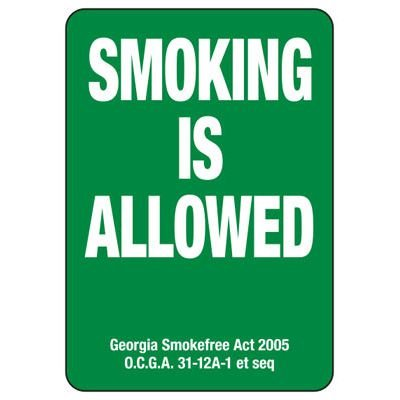 Smoking Is Allowed - Georgia No Smoking Sign