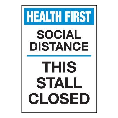 Social Distance This Stall Closed Label